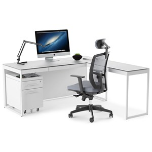 Desk and Return with File Cabinet