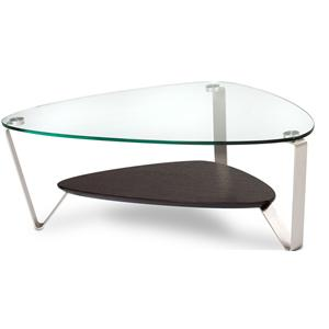Small Triangular Cocktail Table with Glass Top