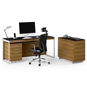 Desk With Lateral File and Mobile File