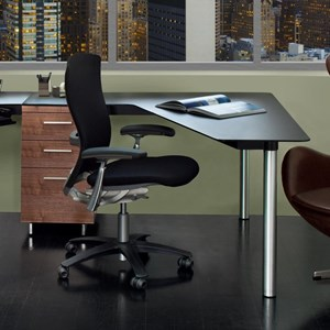 Peninsula Desk with File Cabinet