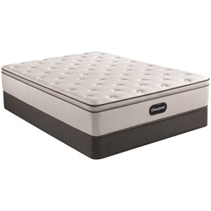 "Full 13 1/2"" Plush Pillow Top Pocketed Coil Mattress and 9"" Steel Foundation"