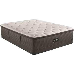"Queen 16"" Medium Pillow Top Pocketed Coil Mattress and 6"" Low Profile Steel Foundation"