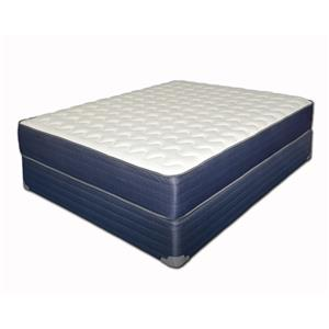"King Firm 12 1/2"" Mattress and Blue Foundation"