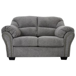 Loveseat with Pillow Arms and Nailhead Trim