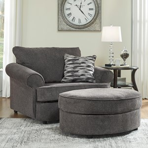 Chair and a Half & Oval Ottoman in Gray Fabric