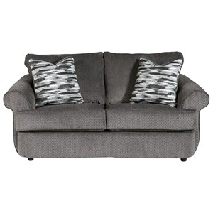Curved Front Loveseat in Gray Fabric