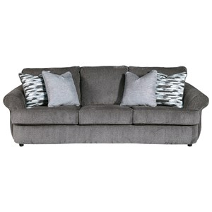 Curved Front Sofa in Gray Fabric