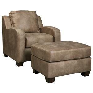 Contemporary Faux Leather Chair & Ottoman