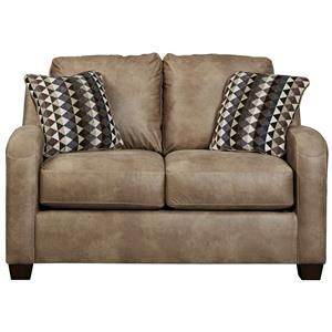 Contemporary Faux Leather Loveseat
