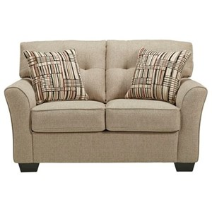 Casual Loveseat with Tufted Back Cushions