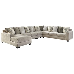 Contemporary 5-Piece Sectional with Left Chaise