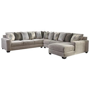 Contemporary 4-Piece Sectional with Right Chaise