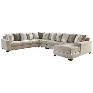 Contemporary 5-Piece Sectional with Right Chaise