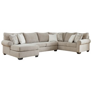 Transitional 3-Piece Sectional with Left Chaise