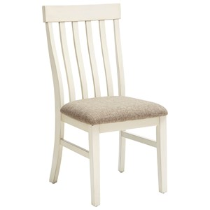 Dining Upholstered Side Chair in Antique White Finish
