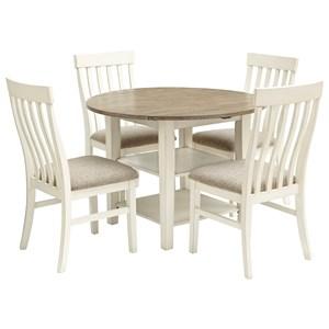 5-Piece Two-Tone Drop Leaf Table Set