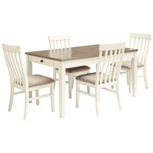 5-Piece Two-Tone Rectangular Dining Table Set
