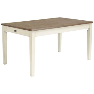 Two-Tone Rectangular Dining Room Table with 2 Drawers