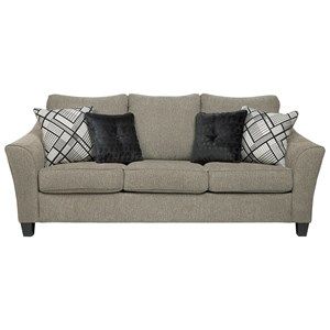 Contemporary Sofa with Flared Arms in Taupe Fabric