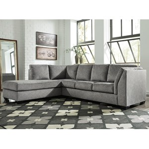 2-Piece Sectional with Left Chaise in Gray Fabric