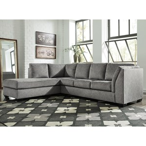 2-Piece Sectional with Left Chaise & Sleeper Sofa in Gray Fabric