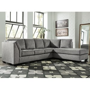 2-Piece Sectional with Right Chaise in Gray Fabric