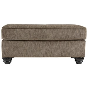 Transitional Ottoman with Turned Feet