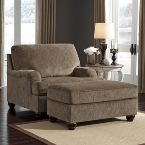 Transitional Chair and a Half with Ottoman