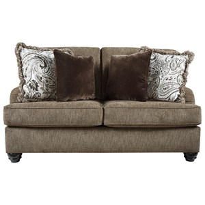 Transitional Loveseat with English Arms