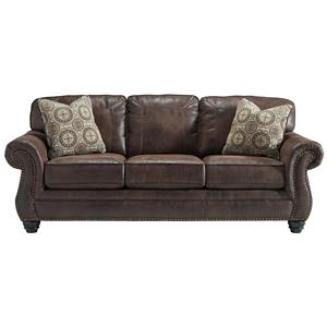 Faux Leather Sofa with Rolled Arms and Nailhead Trim