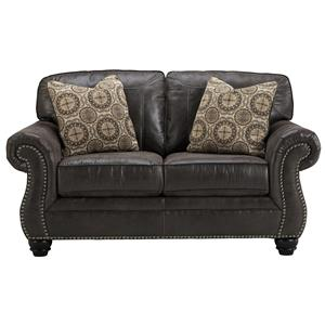 Faux Leather Loveseat with Rolled Arms & Nailhead Trim