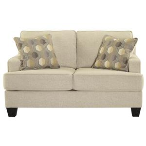 Loveseat with Track Arms and T-Style Seat Cushions