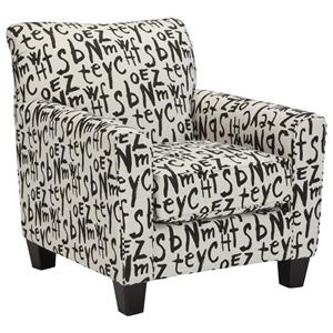 Accent Chair with Graffiti-Style Text Fabric