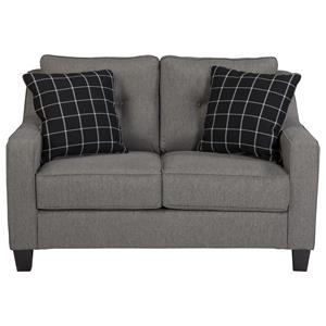Contemporary Loveseat with Track Arms & Tufted Back