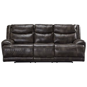 Casual Power Reclining Sofa with Adjustable Headrest