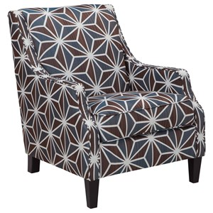 Contemporary Accent Chair in Geometric Fabric