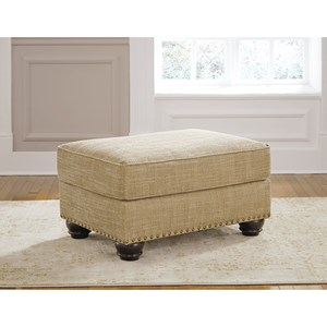 Ottoman with Nail Head Trim