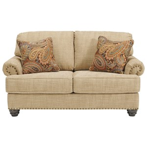 Loveseat with Nail Head Trim