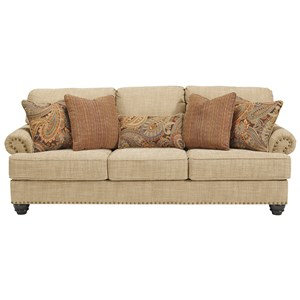 Queen Size Sofa Sleeper with Nail Head Trim