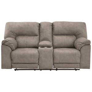 Casual Double Reclining Power Loveseat with Console and USB Port