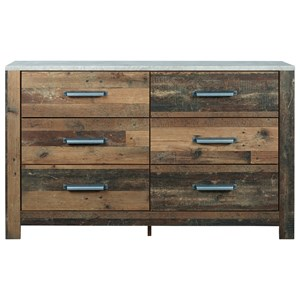 Rustic Dresser with Concrete-Look Top