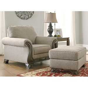 Chair & Ottoman with Traditional Style