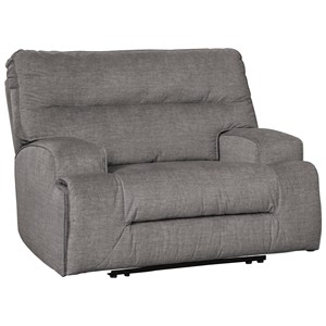Contemporary Wide Seat Power Recliner with USB Charging