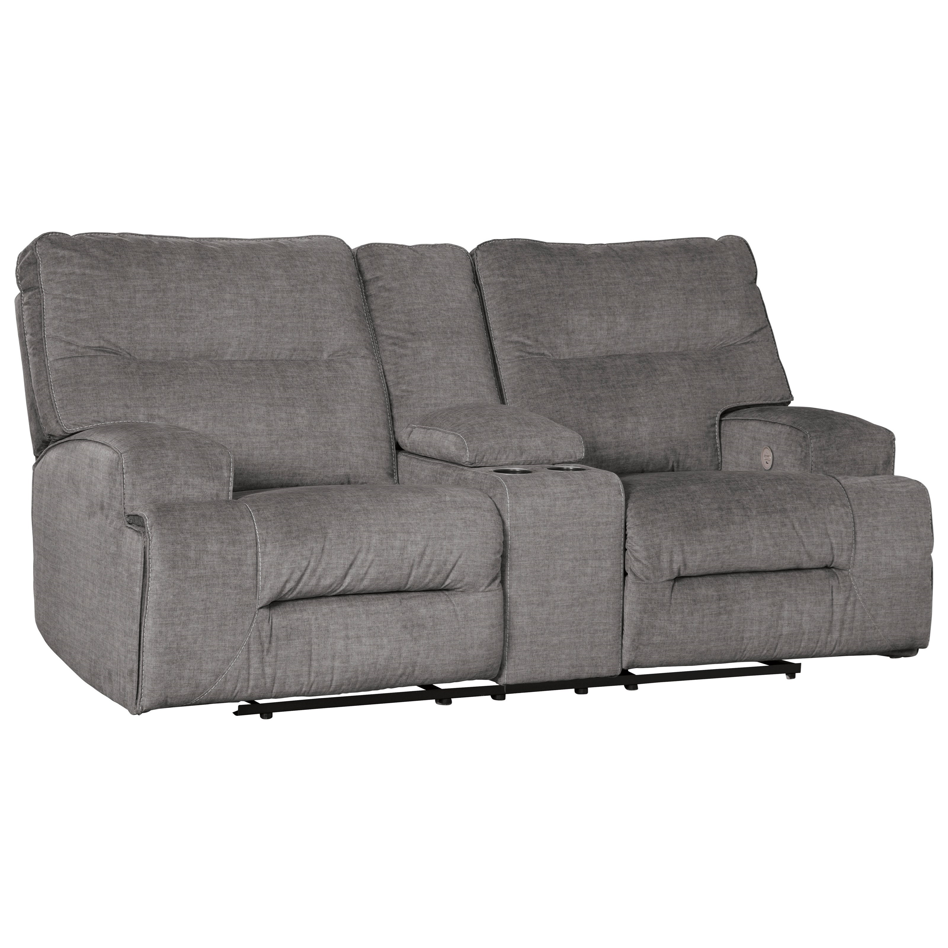 Coombs Double Reclining Power Loveseat w/ Console by Benchcraft at Miller Waldrop Furniture and Decor