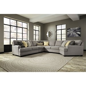 Contemporary 5-Piece Sectional with Cuddler