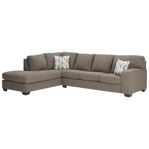 Contemporary Casual 2-Piece Sectional with Chaise