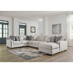 Casual 5-Piece Sectional with Right Chaise
