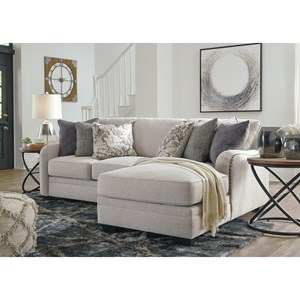 Casual 2-Piece Sectional with Right Chaise