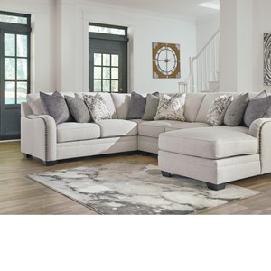 Casual 4-Piece Sectional with Right Chaise