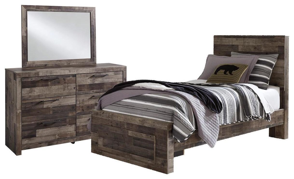 Derekson Twin Storage Bed, Dresser And Mirror by Benchcraft at Johnny Janosik